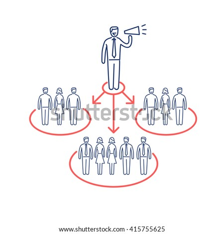 Conceptual vector icon of pr public relations communication with different groups of people | modern flat design business linear illustration and infographic concept red and blue on white background
