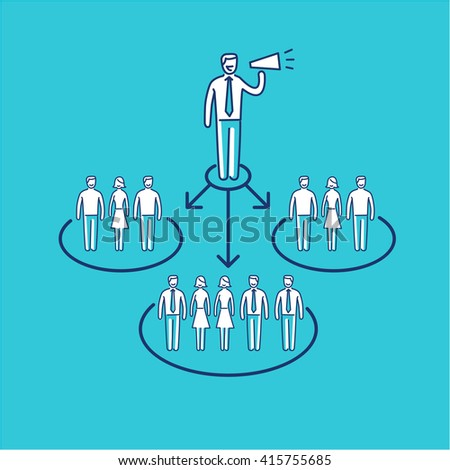 Conceptual vector icon of pr public relations communication with different groups of people | modern flat design marketing and business linear illustration and infographic concept on blue background - stock vector