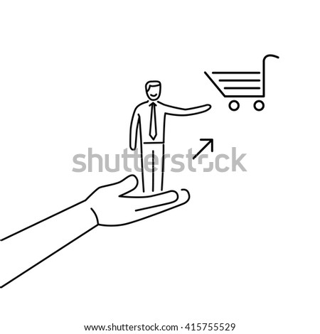 Conceptual vector icon of pull marketing communication and strategy with hand pulling happy customer to shopping basket | flat design business linear illustration infographic black on white background - stock vector