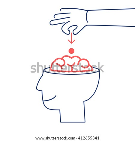 Conceptual vector icon of suggestion viral and guerilla marketing inserting thoughts into the brain | modern flat design business linear illustration and infographic red and blue on white background