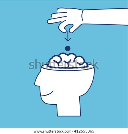 Conceptual vector icon of suggestion viral and guerilla marketing inserting thoughts into the brain | modern flat design business linear illustration and infographic concept on blue background