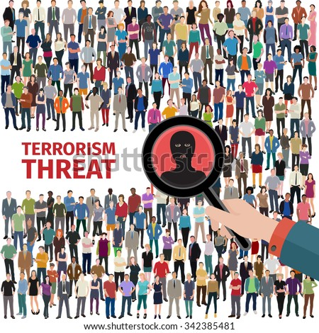 conceptual vector illustration at terrorism threat with huge crowd of people  - stock vector