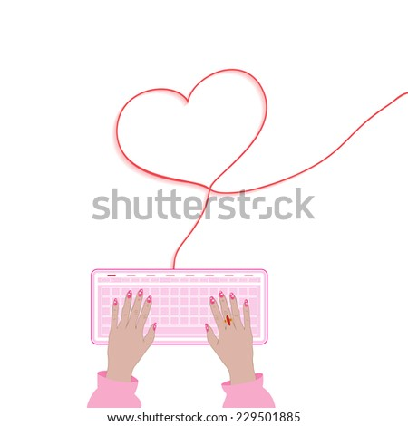 Conceptual vector illustration, connections network  communication in Valentine day - stock vector