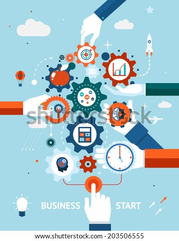 Conceptual vector illustration of a business and entrepreneurship business start or launch with gears and cogs with various icons for industry and business held by hands  one pushing the start button - stock vector