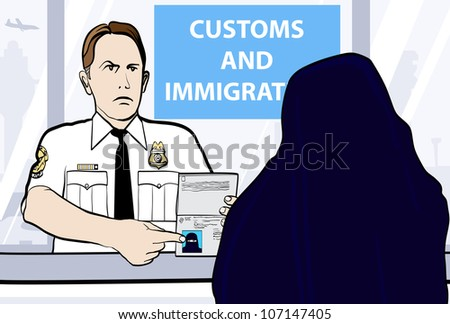 Conceptual vector illustration of a passport control of woman wearing niqab - stock vector