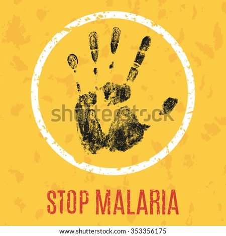 Conceptual vector illustration of an appeal to stop the spread of malaria - stock vector