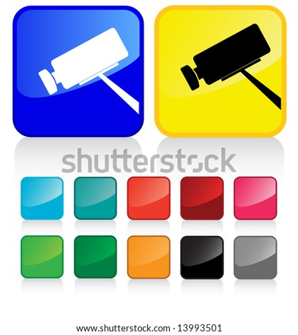 Conceptual vector illustration of CCTV camera web2.0 - proposed colors - stock vector
