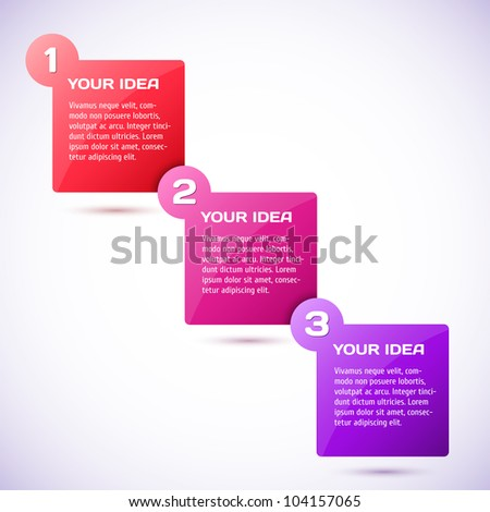 Conceptual vector illustration of colorful cubes with arrows and place for your text. Usable for different business design. Progress background / product choice or versions. - stock vector