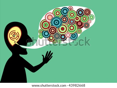 Conceptual vector illustration of speaking man with good ideas - stock vector