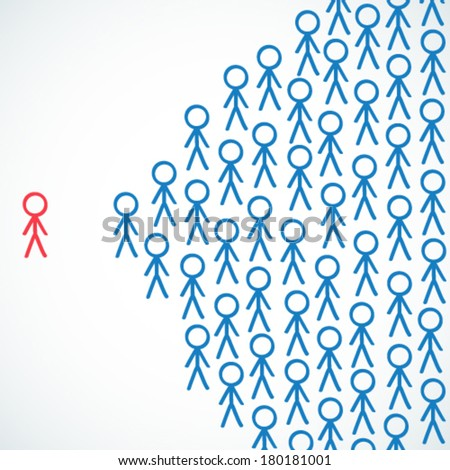 Conceptual vector illustration of stick figures with one individual being highlighted and standing next to crowd.