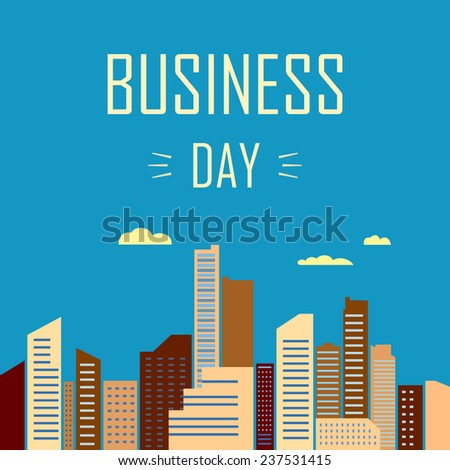 conceptual vector illustration with modern business city - stock vector