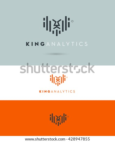 CONCEPTUAL VECTOR LOGO / ICON OF A LION INCORPORATED WITH GROWTH BARS  - stock vector
