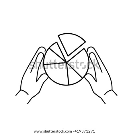 Conceptual vector market share icon with pie chart holding in two hands. flat design marketing and business linear illustration and infographic concept black on white background - stock vector