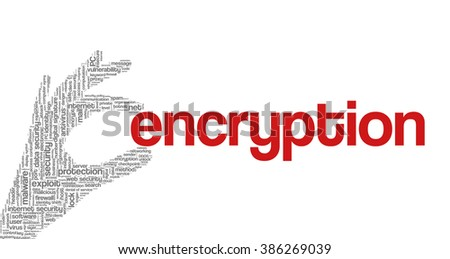 """Conceptual vector of tag cloud containing words related to internet, data, web and network security, data protection, security policy and privacy; in shape of hand holding word """"encryption"""" - stock vector"""