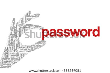 """Conceptual vector of tag cloud containing words related to internet, data, web and network security, data protection, security policy and privacy; in shape of hand holding word """"password"""" - stock vector"""