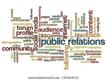 Conceptual vector of tag cloud containing words related to public relations, social media, marketing, blogs, social networks and Internet. Also available as raster. - stock vector