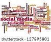 Conceptual vector of tag cloud containing words related to social media, marketing, blogs, social networks and Internet. Also available as raster. - stock vector