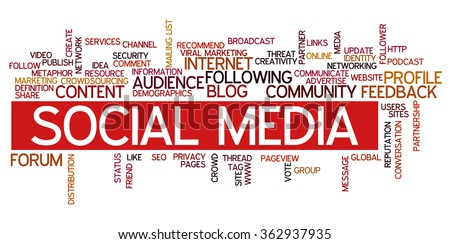 Conceptual vector of tag cloud containing words related to social media, marketing, blogs, social networks and Internet