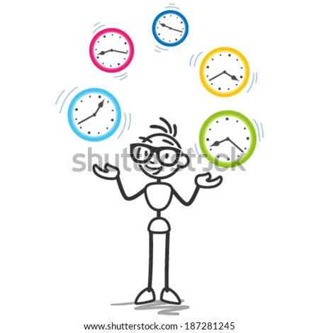 Conceptual vector stick figure illustration: Stickman juggling with clocks symbolizing time management, productivity, planning and scheduling. - stock vector