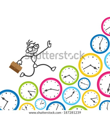 Conceptual vector stick figure illustration: Stickman running on clocks, being stressed, rushing to meet deadlines and keep appointments.