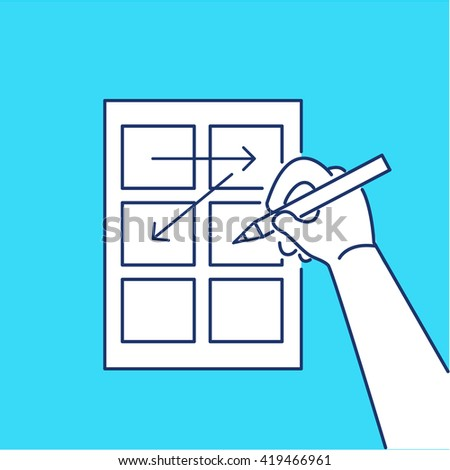 Conceptual vector storyboard icon of hand drawing creative sketches. modern flat design marketing and business linear illustration and infographic concept on blue background