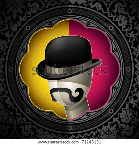 Conceptual vintage background with bowler hat. Vector illustration. - stock vector