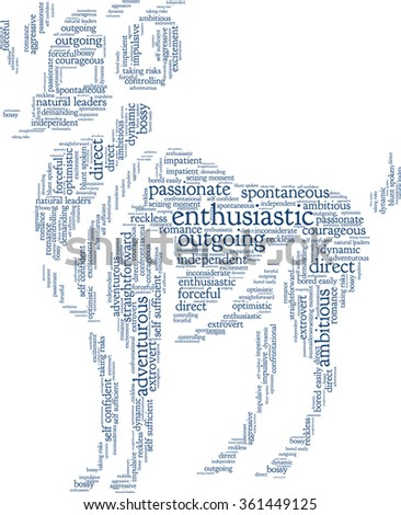Conceptual word cloud containing words related to personal positive and negative traits and characteristics of zodiac sign Aries, in shape of a bull