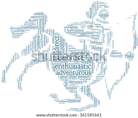 Conceptual word cloud containing words related to personal positive and negative traits and characteristics of zodiac sign Sagittarius, in shape of a archer on horse