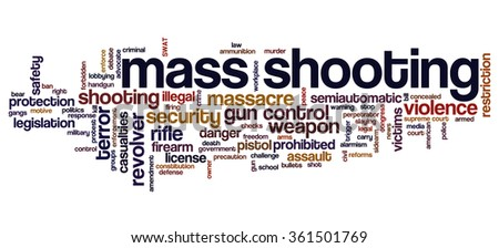 Conceptual word cloud with terms related to gun control, mass shootings and gun control policies - stock vector