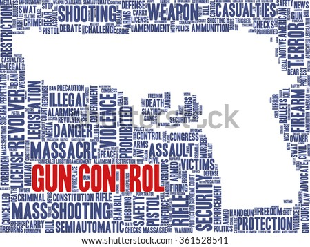 Conceptual word cloud with terms related to gun control, mass shootings and gun control policies, in shape of a gun, inverted - stock vector
