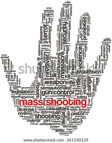 Conceptual word cloud with terms related to gun control, mass shootings and gun control policies, in shape of an open fist - stock vector