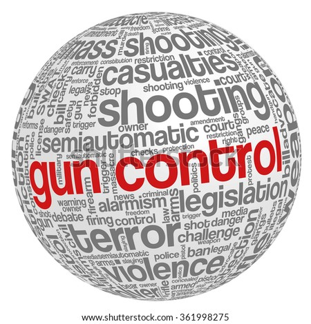 Conceptual word cloud with terms related to gun control, mass shootings and gun control policies, in shape of sphere - stock vector