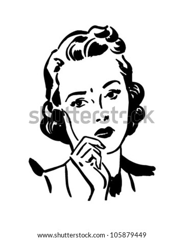 Concerned Woman - Retro Clipart Illustration - stock vector