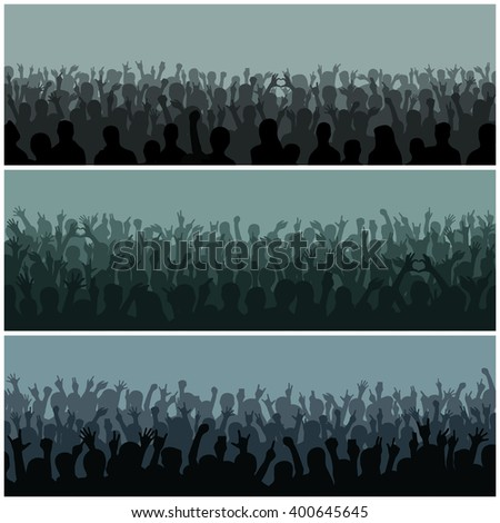 Concert crowd silhouette large group people raising hands. Hand silhouettes in air fans concert. Audience with hands silhouette raised music festival and concert streaming down from above stage vector - stock vector