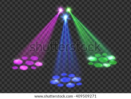 Concert light over transparent background. Abstract scene with red, green, blue lights for disco, party, club. Vector eps 10 format. - stock vector