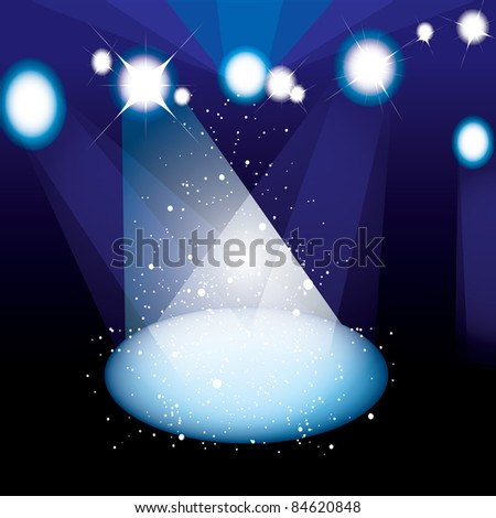 Concert or play stage with bright spotlight and stars - stock vector