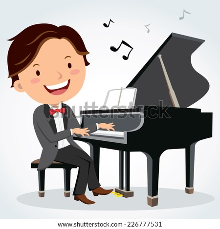 Concert pianist. Piano player. - stock vector