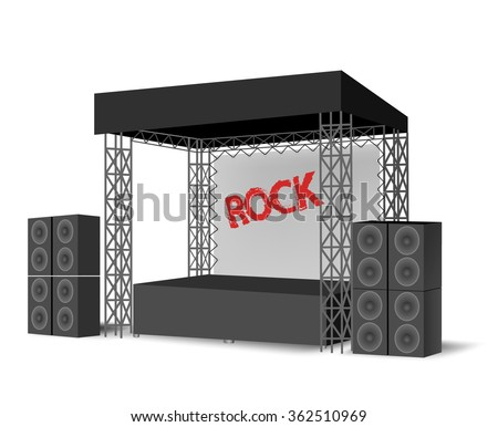 Concert podium,Outdoor festival stage,truss construction.scene, event.Rock Stage - stock vector