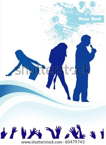 Concert poster group singing - stock vector