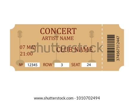 Concert Ticket Retro Ticket Template Isolated Stock Vector