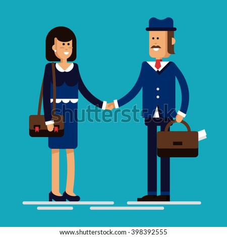 Conclusion of the transaction, fixed hands. Business meeting two businessmen. Agreement. Adoption of a job, employment. Business concept, flat illustration. - stock vector