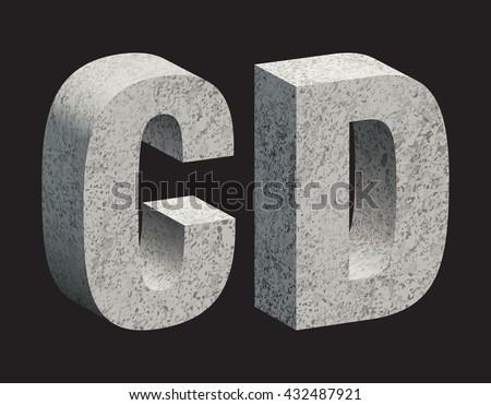 Concrete 3D letters. Vector illustration. - stock vector