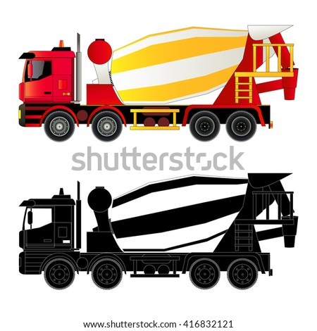 Concrete mixer truck, vector illustration. Silhouette, flat style. Isolated on white