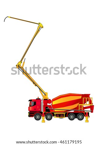 Concrete pump on truck chassis, vector illustration. Isolated on white. Icon. Flat style