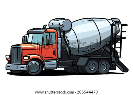 concrete truck cartoon - stock vector