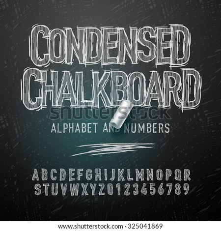 Condensed chalk alphabet letters and numbers, vector illustration. - stock vector