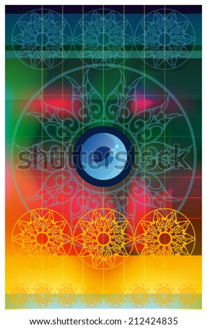 Conditional eyes.  Image of one eye built into the center of circular ornament, - stock vector
