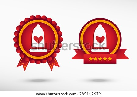 Condom  icon stylish quality guarantee badges. Colorful Promotional Labels - stock vector