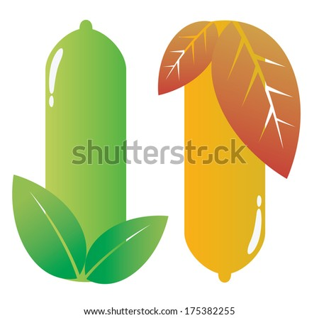 condom.vector.leaves - stock vector