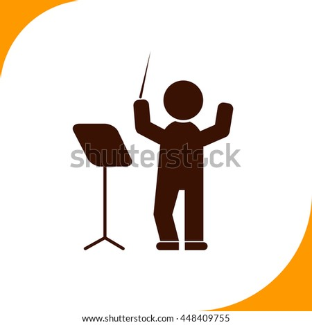 Conductor sign. Brown icon on white background